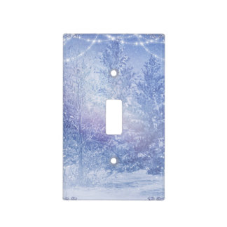 Winter Forest Pine Trees Snowflakes Snowy Woods Light Switch Cover