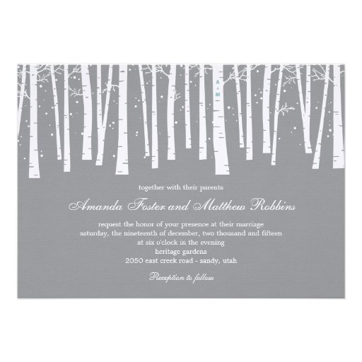 Winter Forest Wedding Invitations Personalized Announcement