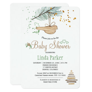Winter forest white natural watercolor baby shower card