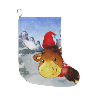 Winter Forest Woodland Friends Deer Illustration Large Christmas Stocking