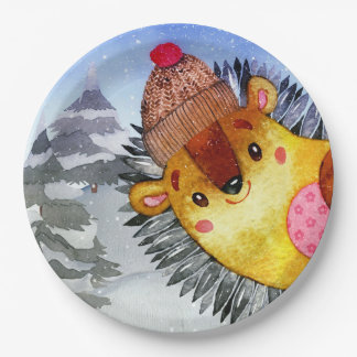Winter Forest Woodland Friends Hedgehog Drawing Paper Plate