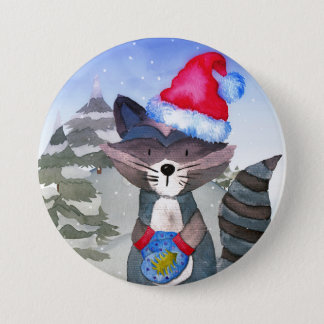Winter Forest Woodland Friends Racoon Illustration 3 Inch Round Button