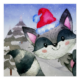 Winter Forest Woodland Friends Racoon Illustration Poster