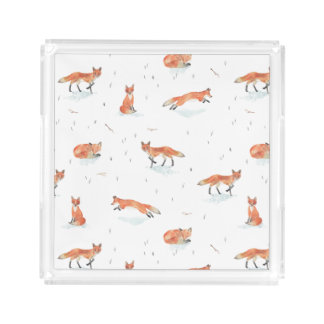 Winter Fox Acrylic Tray