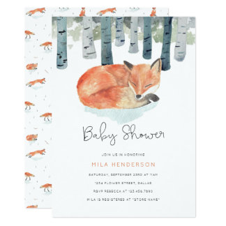 Winter Fox Baby Shower Invitation