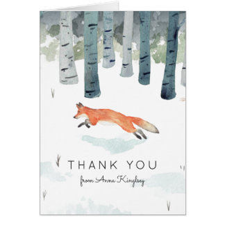 Winter Fox Baby Shower Thank You Card
