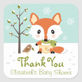 WINTER FOX IN DIAPERS BABY SHOWER THANK YOU SQUARE STICKER