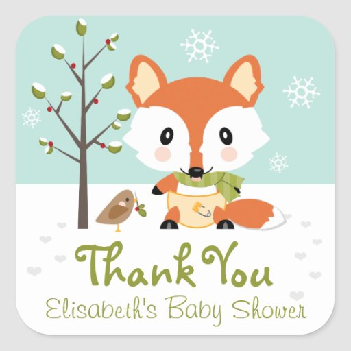 WINTER FOX IN DIAPERS BABY SHOWER THANK YOU STICKER