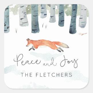 Winter Fox Square Sticker