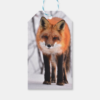 winter fox wrapping paper, woodland gift wrap pack of gift tags