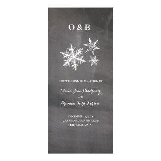 Winter Frost Snowflakes Chalkboar Ceremony Progam Rack Card