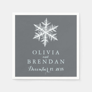 Winter Frost Snowflakes | Wedding Paper Napkin