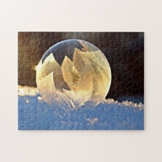 Winter Frozen Bubble with Leaves Jigsaw Puzzle