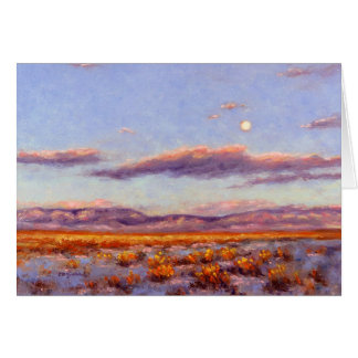 Winter Full Moon at Dusk in Mountain Greeting Card