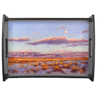 Winter Full Moon at Dusk in Mountain Serving Tray