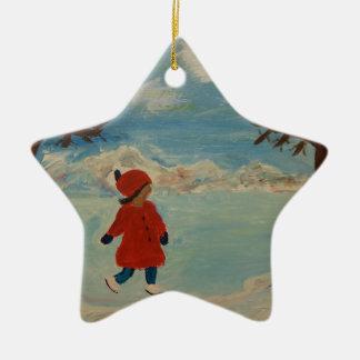 Winter Fun Ceramic Star Ornament