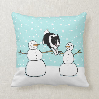 Winter Fun Holiday Border Collie Dog with Snowmen Throw Pillow