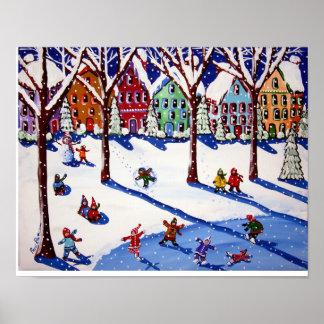 Winter Fun Ice Skate Sled Ride Folk Art Print