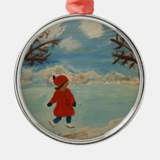 Winter Fun Silver-Colored Round Ornament