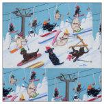 Winter Fun Skiing Labradors Fabric