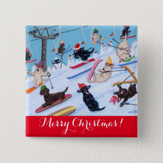 Winter Fun Skiing Labradors Painting 2 Inch Square Button