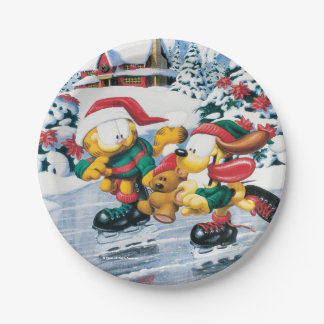 Winter fun with Garfield, Odie & Pooky 7 Inch Paper Plate