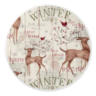 Winter Garden Holiday Reindeer Design Ceramic Knob