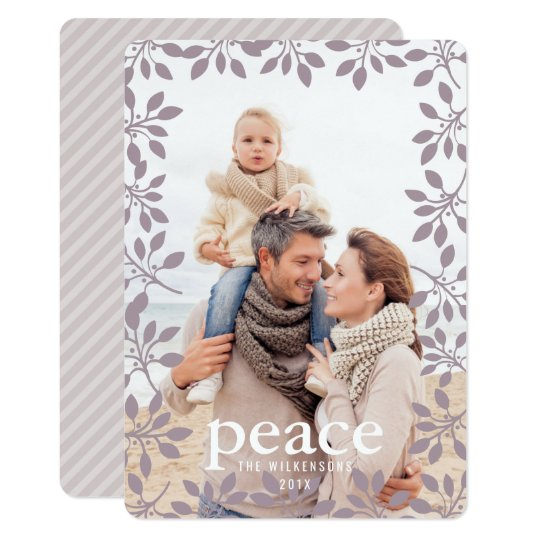 Winter Garland Peace Holiday Photo Card