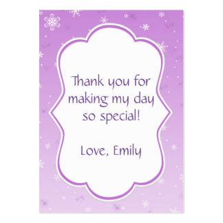 Winter Gift Favor Label Tag Purple Snowflakes Large Business Card