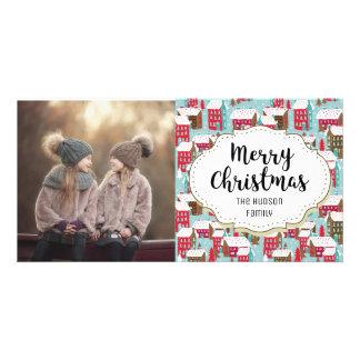 Winter Gingerbread Village Christmas Photo Card