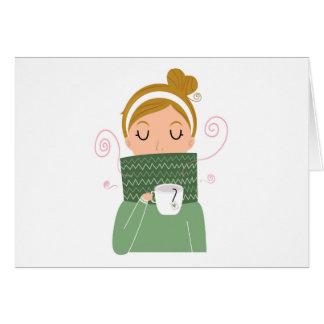 Winter girl drinking tea. New christmas Greeting Card