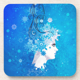 Winter girl illustration beverage coaster