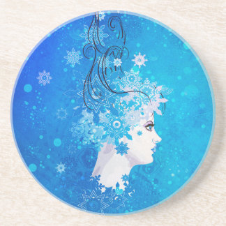 Winter girl illustration beverage coasters