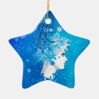 Winter girl illustration ceramic star ornament