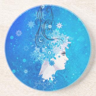 Winter girl illustration coaster