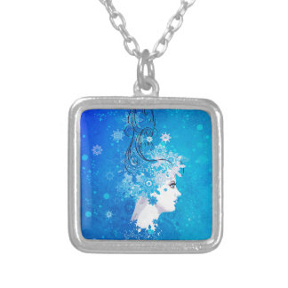 Winter girl illustration silver plated necklace