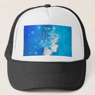 Winter girl illustration trucker hat