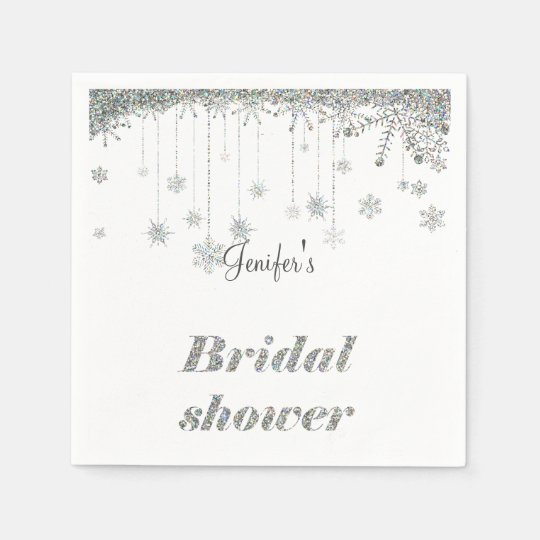 Winter glitter snowflakes bridal shower  Napkins Paper Napkins