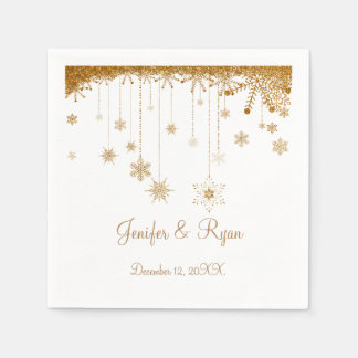 Winter glitter snowflakes wedding  Napkins Paper Napkins