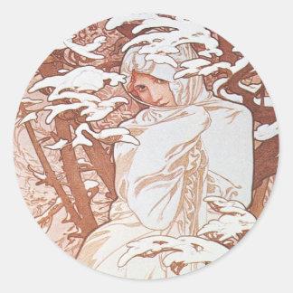 Winter Goddess Classic Round Sticker