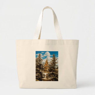 Winter Gol Church Minot North Dakota Large Tote Bag