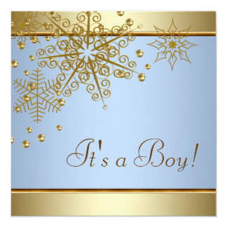 Winter Gold Blue Snowflakes Baby Boy Shower Card