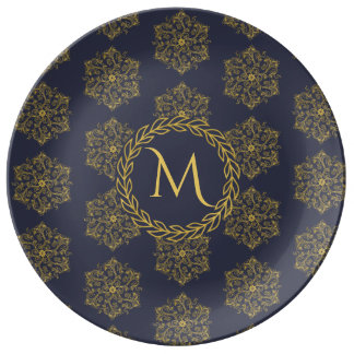 Winter gold navy flourishes leaves circle monogram plate