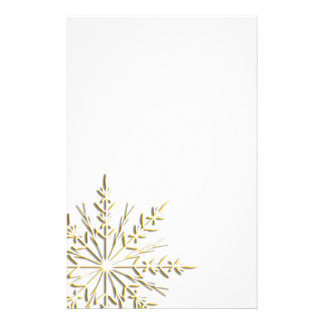 Winter Gold Snowflake Stationery