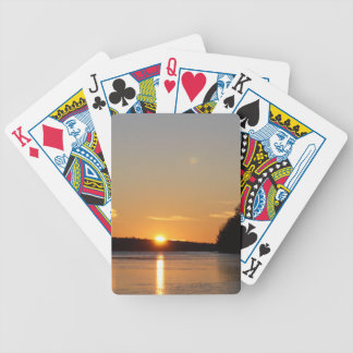 Winter Golden Sun Ray Reflects on Junior Lake Bicycle Playing Cards