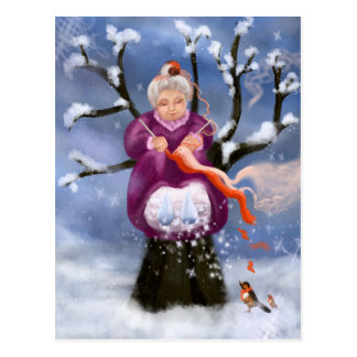 Winter Granny Grandmother of Inverno Postcard
