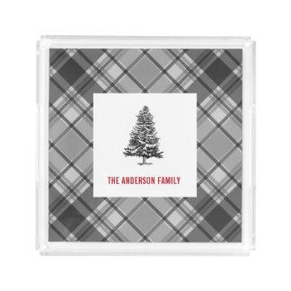 Winter Gray Plaid Spruce Tree Acrylic Tray