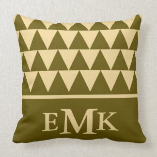 Winter Green and Cream Triangle Monogram Throw Pillow
