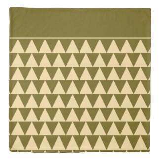 Winter Green and Cream Triangles Reversible Duvet Cover