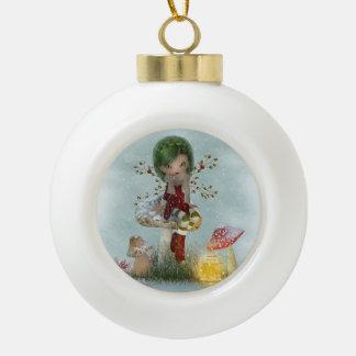 Winter Green Ceramic Ball Ornament